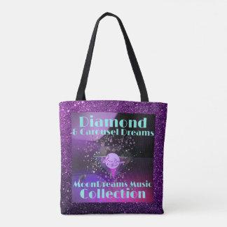 Diamond & Carousel Dreams  Purple Faux Glitter Tote Bag