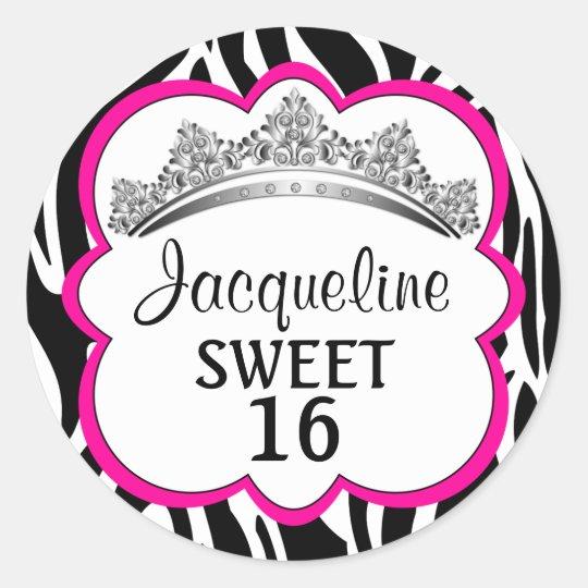 Diamond Crown Zebra Pink Stickers