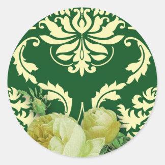 Diamond Damask, Antique Rose in Green & Yellow Round Sticker