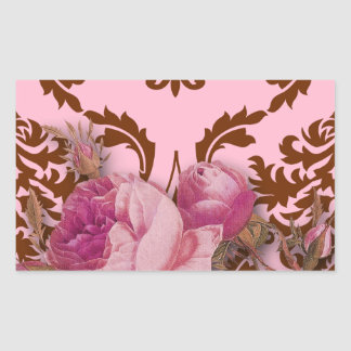 Diamond Damask, Antique Rose in Pink and Brown Rectangular Sticker