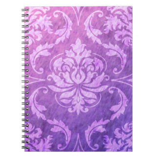Diamond Damask, COLORFUL RAIN in Fuchsia & Purple Notebook