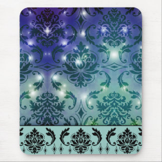 Diamond Damask, FAIRY LIGHTS in Blue and Teal Mouse Pad