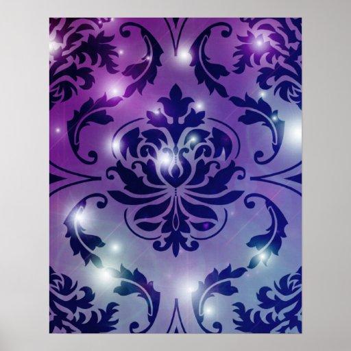 Diamond Damask, FAIRY LIGHTS in Plum & Blue Print