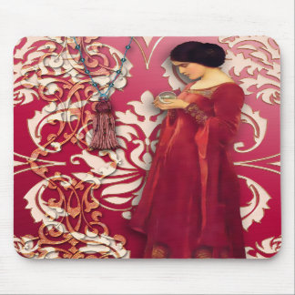 Diamond Damask, FASCINATION in Red & Pink Mousepads