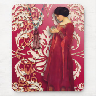 Diamond Damask, FASCINATION in Red & Pink Mouse Pad