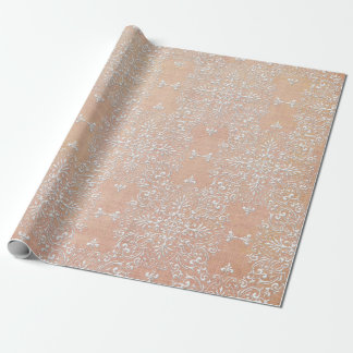 Diamond Damask Lace Peach Wrapping Paper