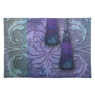Diamond Damask, MOROCCO in Teal and Purple Place Mats