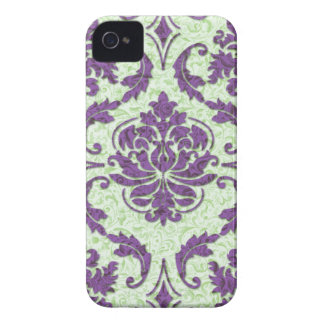 Diamond Damask, Nouveau Print in Purple and Green iPhone 4 Cases