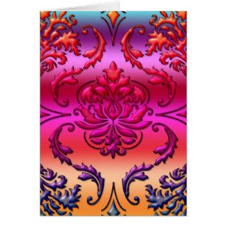 Diamond Damask, Reverse Rainbow Fade #5 Greeting Card