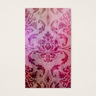 Diamond Damask, Shadows and Fog, Raspberry & Pink Business Card