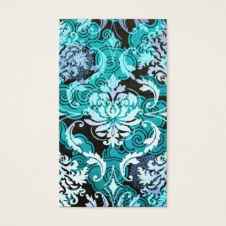 Diamond Damask, Shanghai in Teal and Light Blue Business Card