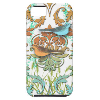 Diamond Damask, Spring Birds in Orange and Aqua iPhone 5 Covers