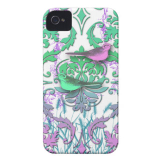 Diamond Damask, Spring Birds in Sea Green & Plum Case-Mate iPhone 4 Case