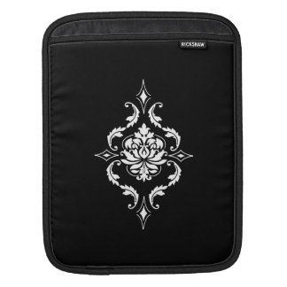 Diamond Damask, White on Black iPad Sleeve