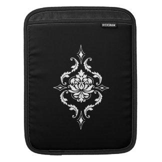 Diamond Damask, White on Black Sleeve For iPads