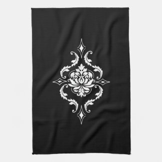 Diamond Damask, White on Black Tea Towel