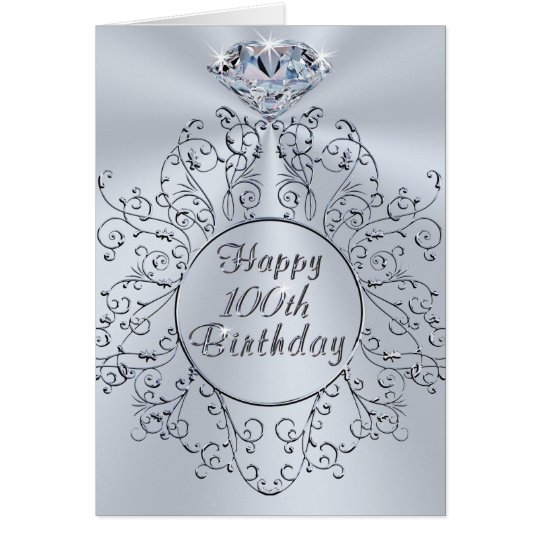 Diamond Design Happy 100th Birthday Card for Her