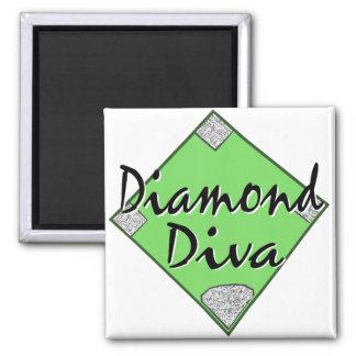 Diamond Diva Softball Square Magnet