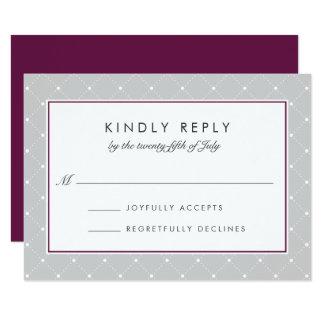 Diamond Dot RSVP Card   Plum and Gray 9 Cm X 13 Cm Invitation Card