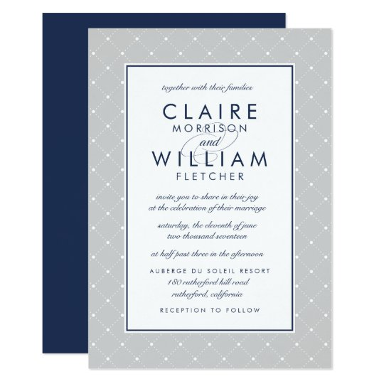 Diamond Dot Wedding Invitation | Grey and Navy