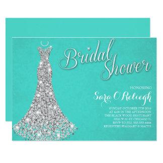 Diamond dress Bridal shower glitz & glam blue Card