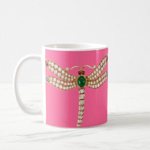 Diamond Emeralds and Gold Dragonfly Basic White Mug