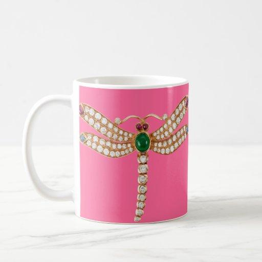 Diamond Emeralds and Gold Dragonfly Basic White Mug