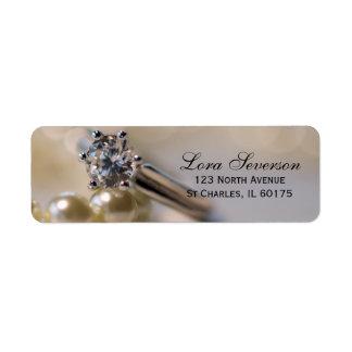 Diamond Engagement Ring and Pearls Return Address Return Address Label