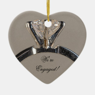 Diamond Engagement Ring on Gray Christmas Ornament