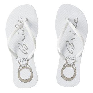 Diamond Engagement Ring Wedding BRIDE Flip Flops