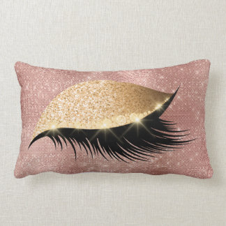 Diamond Eye Make Up Gold Glitter Pink Powder Rose Lumbar Cushion