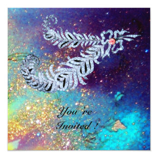 DIAMOND FEATHERS ,blue turquase gold sparkles 13 Cm X 13 Cm Square Invitation Card