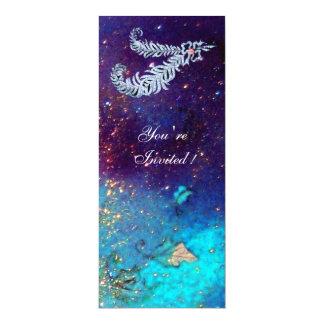 DIAMOND FEATHERS ,blue turquase green sparkles 10 Cm X 24 Cm Invitation Card