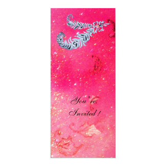 DIAMOND FEATHERS ,pink sparkles 10 Cm X 24 Cm Invitation Card