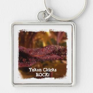 Diamond Focus; Yukon Chicks ROCK! Silver-Colored Square Key Ring