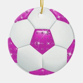 Diamond Gemstones Hot Pink & Aqua Soccer Ball Round Ceramic Decoration