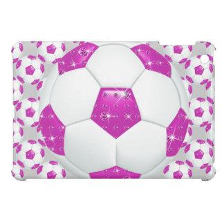 Diamond Gemstones Hot Pink Soccer Ball Case For The iPad Mini