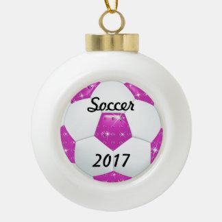 Diamond Gemstones Hot Pinka Soccer Ball Ceramic Ball Christmas Ornament