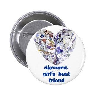 diamond-girl's best friend 6 cm round badge