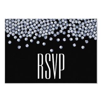 Diamond Glitter Typography Wedding RSVP 9 Cm X 13 Cm Invitation Card