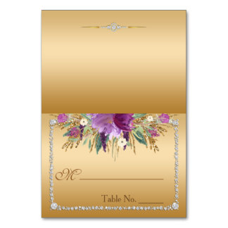 Diamond Glitter Watercolor Flowers Place Card
