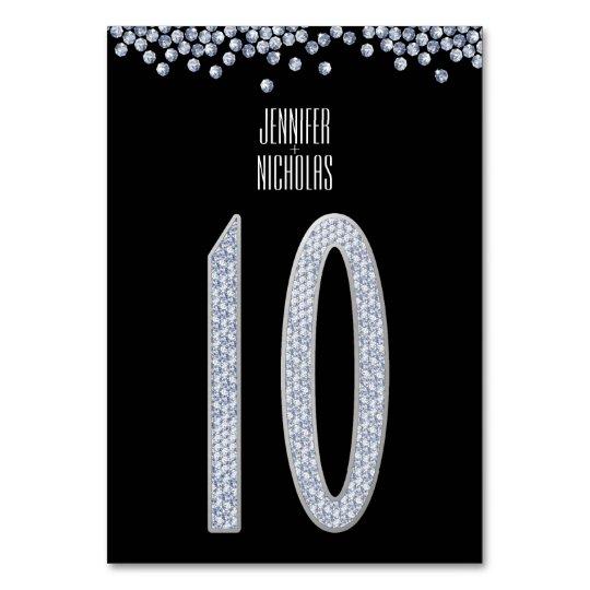 Diamond Glitter Wedding Reception Table Number Ten