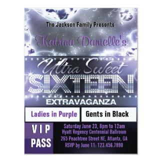 Diamond Glow Sweet Sixteen VIP Pass Invite Purple