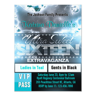 "Diamond Glow Sweet Sixteen VIP Pass Invite [Teal] 4.25"" X 5.5"" Invitation Card"