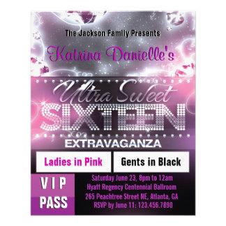Diamond Glow Sweet Sixteen VIP Pass [Pink] 11.5 Cm X 14 Cm Flyer