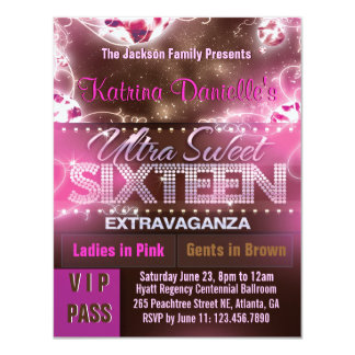 Diamond Glow Sweet Sixteen VIP Pass [Pink Brown] Card