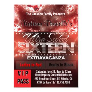 Diamond Glow Sweet Sixteen VIP Pass [Red Black] 11 Cm X 14 Cm Invitation Card