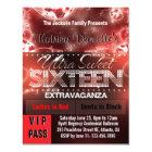 Diamond Glow Sweet Sixteen VIP Pass [Red Black] Card