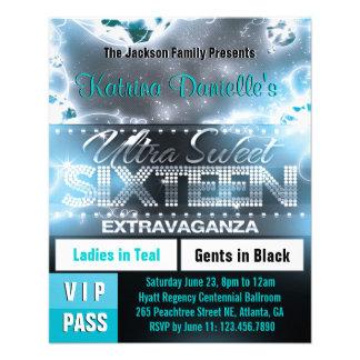 Diamond Glow Sweet Sixteen VIP Pass [Teal] 11.5 Cm X 14 Cm Flyer