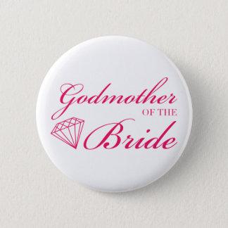 Diamond Godmother of Bride Pink 6 Cm Round Badge